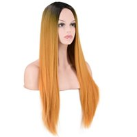 прямые длинные золотые парики оптовых-Factory price 1pc Women Ladies Synthetic Straight Long Natural Gradient Gold Wigs Mixed Colors Full Wig Stand Fashion Dce4