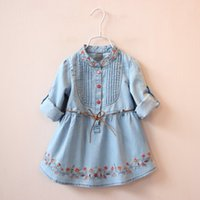 Wholesale dresses girl age 12 resale online - Spring Autumn Ages Kids Embroidery Flower Long And Short Sleeve Double Use Denim Blue Elegant Dress For Girl With Belt
