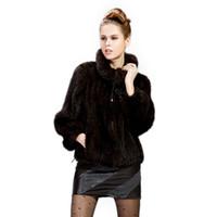 chaqueta de piel de visón de punto xl al por mayor-Mink pelo de piel de visón de punto ropa de abrigo de moda chaqueta de solapa de la capa de la chaqueta de invierno de envío libre de las mujeres de piel