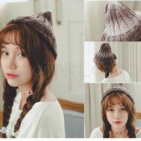coreano tricotados chapéus orelhas venda por atacado-Elastic arco-íris Gradiente Knit Hat Inverno Quente Ear Muffs coreana Beanie Cap Fashion Women Outdoor Viagem Ski Cap TTA1683
