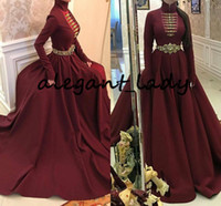 Wholesale evening dresses back detailing for sale - Group buy Circassian Burgundy Long Sleeve Evening Formal Dresses Gold Buttons Detail High Neck Caftan Kaftan Abaya Dubai Prom Gowns