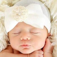 bebek hastanesi toptan satış-Yeni 2020 Sevimli Yenidoğan Bebek Bebek Erkek Kız Rahat Ilmek Hastane Kap Sıcak Beanie Şapka Bebek Bebek Yay Çiçek Şapka 4 Renkler