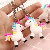 Wholesale rubber chains for pendant resale online - Cartoon Colorful Unicorns Key Chain Doll Key Ring Gift For Women Girls Bag Pendant Figure Charms Key Chains Jewelry gift
