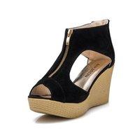 sandalias de fondo grueso de tacón alto al por mayor-Cuñas Sandalias Tacones altos Plataforma Tacones Europeo Americano 2019 Mujeres Sandalias de verano para mujer Zapatos de boca hueca de fondo grueso y grueso