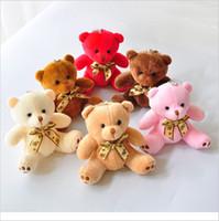 oyuncak ayı bağlar toptan satış-Renkli Kawaii Küçük Teddy Bear Peluş Ile Dolması Peluş Papyon 10 CM Oyuncak Teddy-Bear Bears Ted Ayılar Peluş Oyuncaklar Düğün Yaratıcı Hediye Doll
