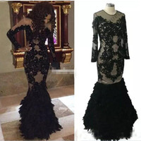 feather shirts plus size 2021 - Luxury Black Feather Prom Dresses With Long Sleeves Sheer Arabic Evening Gowns Real Tulle Mermaid Formal Dresses Gowns Plus Size
