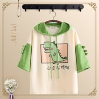 Wholesale girl t shirt 12 year for sale - Group buy 12 years old loose leisure students junior high school girls hooded children women s short sleeved T shirt high school student suit