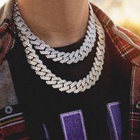 chaîne en forme achat en gros de-Chaîne cubaine Miami en forme de bande de 14MM pleine de collier de hip hop pour hommes zircon 18inch-22inch