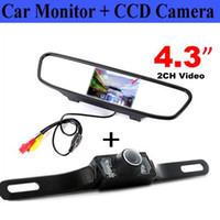rear vision mirror camera بالجملة-4.3 بوصة LCD سيارة السيارات مرآة الرؤية الخلفية مراقب مع ماء الأشعة تحت الحمراء للرؤية الليلية عكس كاميرا احتياطية