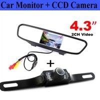 monitorización de espejo al por mayor-Monitor LCD retrovisor retrovisor auto de 4.3 pulgadas con visión nocturna a prueba de agua por infrarrojos que invierte la cámara de respaldo