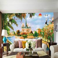 pintura a óleo paisagem castelo venda por atacado-Castelo europeu pintura a óleo grande mural papel de parede TV fundo sala de estar sofá quarto nascer do sol paisagem mural papel de parede