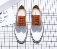 Wholesale wedding party dresses young resale online - Men spring fashion mixed colors big size leather shoes male casual dress lace up wedding shoes for young men shoes dha6