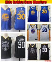 camisetas de baloncesto azul niños al por mayor-Estado niños de Oro Juvenil azul Wariors Stephen Curry 30 Baloncesto Jersey jóvenes Stephen Curry negro cosido jerseys de los muchachos