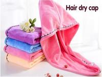 wasserabsorbierendes handtuch großhandel-Mode Frauen Microfaser starkes Wasser absorbierende Microfaser trockenes Haar Handtuch wickeln Duschhaube Süßigkeiten Farbe Mädchen Badezimmer Zubehör
