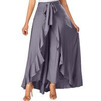 лук связи серый оптовых-High waist Women Summer Long Grey Side Zipper Tie Front Overlay Pants Ruffle Skirt Bow Long Skirt Party Vestidos Verano Z326