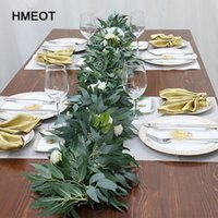 Wholesale table leafs resale online - 1 m green artificial plants vine eucalyptus leaves rattan home garden Christmas party wedding table decor flower Accessori