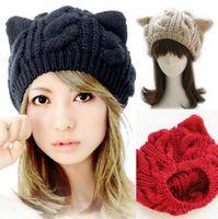 chapéus para mulheres venda por atacado-Mulheres Gato Orelha de Malha Chapéus Elegantes Senhoras Coelho Cap Beanie Moda Ao Ar Livre Feminino Inverno Quente Chapéu de Esqui de Viagem TTA1497
