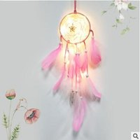 Wholesale diy led net lights resale online - New lamp Dream Catcher Net Led Stars String Lights DIY Wind Chimes Natural Feathers Wall Hanging Decor DreamCatcher lamp string