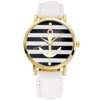 relojes de anclaje al por mayor-Clásico elegante vestido de las mujeres reloj de pulsera de cuero reloj de ancla a rayas Relojes de pulsera de cuarzo del amante unisex hombres Casual reloj de cuarzo