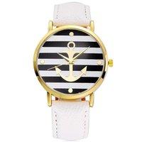 relógios âncora venda por atacado-Clássico Elegante Mulheres Vestido Relógio De Pulso De Couro Listrado Âncora Amante do Relógio de Quartzo Relógios De Pulso unisex Dos Homens Ocasionais De Quartzo relógio