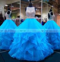 aqua prom kleider großhandel-2019 Aqua-Blau mit Perlen verziert Paillette Organza Promkleider Tiered Rüschen Bonbon-16 Mädchen-Festzug-Kleid-Backless formale Partei-Kleid-Abschlussball-Lange