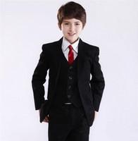 ingrosso giacca occasione per ragazzo-Anello portatore Abiti tre pezzi Giacca nera Ragazzi Occasioni formali Abito da sposa per bambini Vestito da sposa per bambini (giacca + pantaloni + gilet)