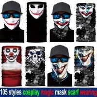 bandanas cool achat en gros de-1lot = 10pcs 105 Styles Halloween cosplay multifonctions magie cool Camo Bandana Echarpe Drapeau animal Crâne masque pour les enfants Designer Scarfs adultes