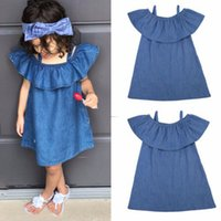Wholesale european princess clothes online - Baby girls off shoulder Denim Dress children Ruffle princess dresses summer Fashion boutique Sundress Kids Clothing C5925