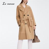 ingrosso lunghi cappotti di cammello-Cappotti da donna Cappotto lungo di lana invernale 2018 Cappotto da donna caldo cammello coreano di moda vintage doppiopetto