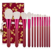 Wholesale red eyeshadow powder for sale - Group buy 12pcs Red Makeup Brushes Set Wood Handle Foundation Eyesbrow Powder Blush Eyeshadow Face Make Up Brush Soft Hair Cosmetic Tools with bag
