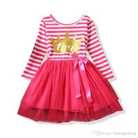 ingrosso vestiti da compleanno per ragazze adolescenti-Autumn Dress For Newborn Baby Girl 1 2 anni Birthday Striped Girl Clothes Neonate Kids Girls battesimo Abiti da festa per bambini