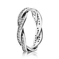 anillo de diamante torcido al por mayor-100% 925 Anillo de líneas trenzadas brillantes de plata esterlina Caja original para Pandora 18K Oro rosa CZ Diamante Diseñador de lujo Mujeres Anillos Conjuntos
