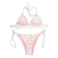 lycra schlägt mädchen großhandel-Frauen Halfter Krawatte String Milk Silk Bikini Set Weibliche Krawatte Seiten Kurze Badeanzug Mädchen Einstellbare Beachwear