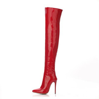stiefel knie leder 12 groihandel-Autumn 12CM High Heels Sexy Over The Knee Boots Red High Heels Knight Boots PU Leather Women Nightclub Pole Dancing Boots