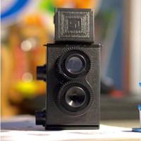 объектив для игрушечной камеры оптовых-Fashion Black DIY Twin Lens Reflex TLR 35mm Lomo Film Camera Kit Classic Play Hobby Photo Toy Gift for Children/ Students