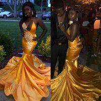sexy vestido halter amarillo al por mayor-Amarillo Negro Chicas Africanas Nigerianas Largas Sirena Vestidos de Baile 2019 Halter Cuello En V Cuello Sin Espalda Longitud del Piso Vestidos de Satén Ropa de Noche
