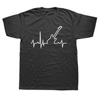 Wholesale custom bass guitar necks for sale - Group buy Bass Guitar Heartbeat Fashion Summer T Shirt Men Printed Custom Short Sleeve Valentine Gift T shirts Unisex
