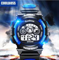 en iyi elektronik saatler toptan satış-Coolboss İşlevli çocuk elektronik saatler 7 renk Aydınlık çalar saat takvim zaman unisex spor saatler çocuk en iyi hediye