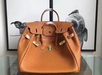 bolsa padrão laranja venda por atacado-Qualidade Icônico Berkin 25-30-35-40cm Taurillon Moda Bolsas De Couro Totes, fecho de Bloqueio de volta, Dupla Top Alças, Vem com Saco de Pó