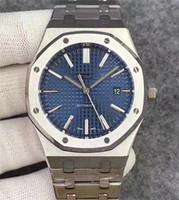 edelstahl blau groihandel-2019 heißer verkauf 42mm luxus uhr für männer automatische bewegung blaues zifferblatt königliche eiche serie herrenuhr 15400 edelstahl herrenuhren