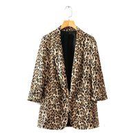 trajes de chaqueta de damas marrones al por mayor-2018 Autumn Women Brown Leopard Blazers Chaquetas femeninas para mujer Outwear Femenino Office Ladies Notched Collar Tops Trajes Conjuntos