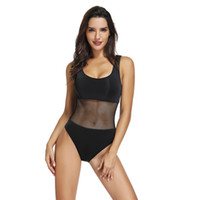 Wholesale black ladies swimsuit mesh for sale – plus size Women summer beach hot sale sexy mesh net bikini ladies solid color slim fit swimsuit onesies black