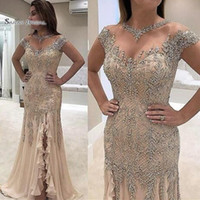Wholesale plus size hot model for sale - Group buy 2019 Mermaid V neck Sexy Split Beads Formal Evening Wear In Stock Hot Sales High end Quality Dress