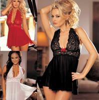 frauen große sexy unterwäsche großhandel-Frauen Sexy Dessous Kleider Plus Size Backless Sexy Kostüme Nachthemden Große Sleepwear Sleeveless Dame Unterwäsche 4 Farben S-2XL