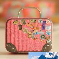 Cartoon Wedding Iron Favor Tin Box Suitcase Shape Cable Jewelry Container Mini