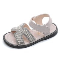 Wholesale children green princess shoes resale online - Girls Sandals Kids Summer Shoes Princess Sweet Pearls Beading Fashion Children Beach Shoes Girlish Style Soft Quality Crystal