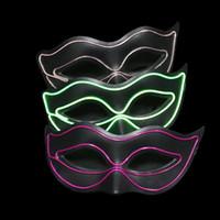 mascara de led para niños al por mayor-Nuevo led glow Halloween mask dance party led glow mask para niños y niñas