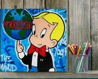 Wholesale abstract wall art paintings resale online - Alec Monopoly Banksy Oil Painting On Canvas Abstract The World Is Yours Wall Art Home Decor Handcrafts HD Print