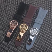 bouche en caoutchouc achat en gros de-Bracelet de montre en caoutchouc de sillicone noir de haute qualité concave bouche fermoir sangle pour PHILI Nautilus 5712G 7010G