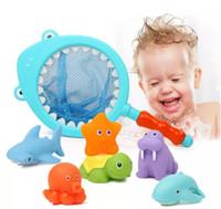 ingrosso giraffe di plastica-Bainsch baby shower bath toys set di giraffa d'acqua creativa per bambini giocattoli da bagno da bagno 5 p